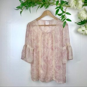 Lauren Conrad Boho Top sheer with lace details